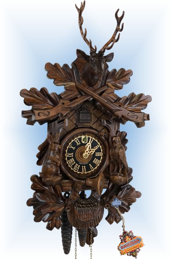 Hones | 134-3 | 17''H | Rabbit Hunter | Traditional | cuckoo clock | full view