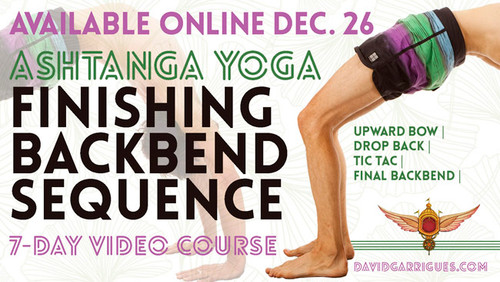 This is a 7-day course, each day is 20-25 minutes long and contains 4 sections:    1: Upward Bow    2: Drop Back    3: Tic Tac    4: Final Backbend  By utilizing Ashtanga Yoga's Finishing Backbend sequence, this course will teach you:     1) How to use opposing forces in your postures and create dynamism.    2) How to turn fear into positive action.