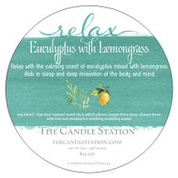 Relax with the calming scent of eucalyptus mixed with lemongrass. Aids in sleep and deep relaxation of the body and mind.                                  soy blend / dye free/ natural wood wick which allows: longer burn time, cleaner burn with less soot residue & a soothing crackling sound