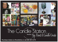 Paint, Sip and Candle Create Admission Ticket/ Session III (5pm-7pm)