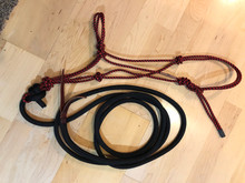 These halters are all made with the extra firm polyester double braid rope, with a 12' tied on lead. The leads are made with all polyester double braid (yacht) rope, they are 12' in length, tied with the sheet bend knot for a permanent connection and include a weighted end with leather popper.  Choose your halter size and color, and the color of your lead. Now your ready to get to work using the same quality of halter and lead that tope trainers use but at a fraction of the cost.To view Color options Click here Rope Colors. Feel free to contact me with any questions.