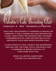 Valentine's Cake Decorating Class at Passerelle Bistro