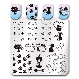 Cute Cats - Square Stamping Plate - Born Pretty X11