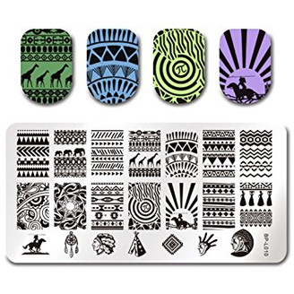 Aztec - Rectangle Stamping Plate - Born Pretty L010