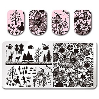 Within the Forest - Rectangle Stamping Plate - Born Pretty L011