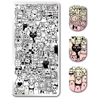 Animal Friends - Rectangle Stamping Plate - Born Pretty L091