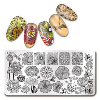 Floral - Rectangle Stamping Plate - Harunouta L034