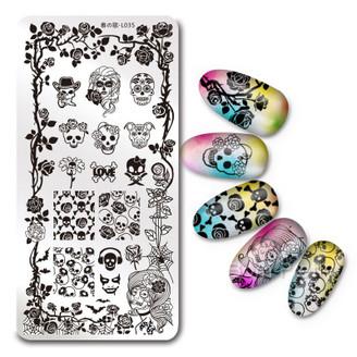 Skulls & Roses - Rectangle Stamping Plate - Harunouta L035