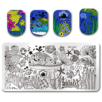 Ocean Creatures - Rectangle Stamping Plate - Born Pretty L097