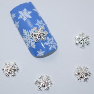 5pc. Silver Snowflake Nail Charms