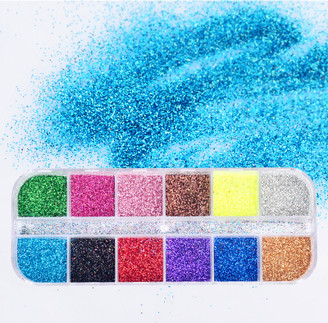 Nail Glitter Set - 12 Colors with Case