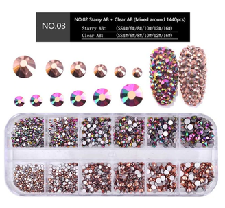 Rose Gold Rhinestone Set - 1440 Nail Stones