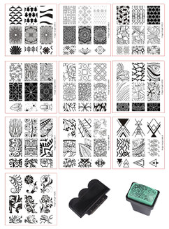 10pcs Nail Stamping Plates + 1 Stamper + 1 Scraper