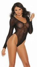 Long Sleeve Teddy With Snap Crotch - One Size - Black