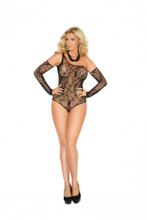 Floral Fishnet Teddy and Gloves - Queen Size - Black