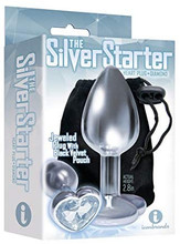 THE 9'S SILVER STARTER DIAMOND HEART BEJEWELED STAINLESS STEEL ANAL PLUG