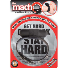 The Macho Collection Snap-on Vibro Cock and Ball Strap - Black