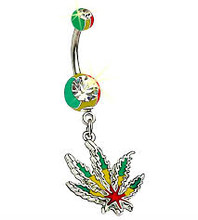 Pot Leaf Belly Ring #2