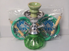 Green Double Hose Pumpkin Hookah