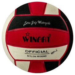 WINART SIZE 3 WATER POLO BALL, BLACK/RED/WHITE