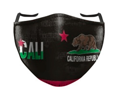 IN STOCK, READY TO SHIP - REUSABLE FACE COVER - CALI BEAR