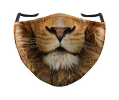 IN STOCK, READY TO SHIP - REUSABLE FACE COVER - LION