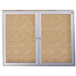 "S & R SPORT LOCKING BULLETIN BOARD WITH 2 DOORS, 48"" X 60"""
