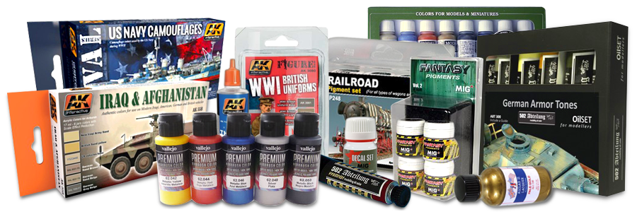 AK Interactive, Alclad, Vallejo, Model Kit Paints, Brushes, Guides, Supplies