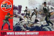Airfix 2702 - 1/32 WWII German Infantry Figure Set (14) Unpainted Plastic Toy Soldiers