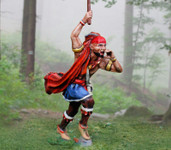 Iriquois Indian With Warclub - Hand Painted Metal Toy Soldier