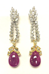 Monique Creations, NYC - Natural Uncut Burma Ruby & Diamond earrings