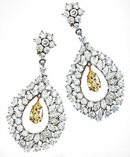 Monique Creations, NYC -  Starlet large drop earrings featuring yellow and white in platinum