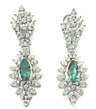 Monique Creations, NYC - Emerald & Diamond Earrings