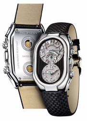 Philip Stein Chrono with Calendar - Black & Grey Leather Strap