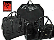Red Scarf Collection - Black Belmont, Bootbag, & Garment Bag in Canvas with Leather Trim
