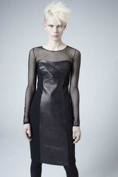 Heike Jarick - The ELVIRA Dress in soft Black Leather and Chiffon
