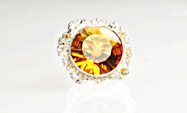 Dafna Podlubny -  925 Sterling Silver Ring with an Mandarin Orange Sun Quartz