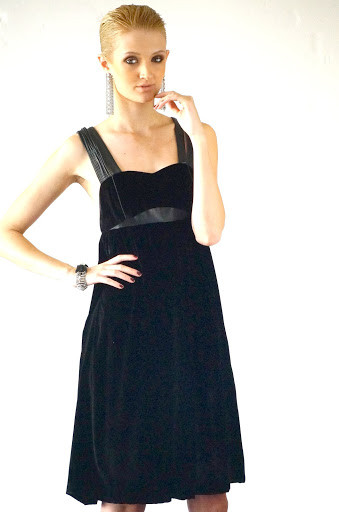 Sumsara - Black Velvet Cocktail dress with soft leather trim - no sleeve
