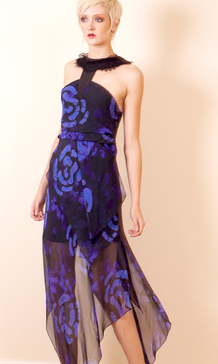 Sumsara - Original hand printed Silk Dress - Midnight Blue