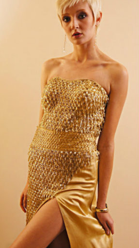 Gold Silk long strapless dress with Gold Sequins and Side Split