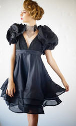 ADDY VAN DEN KROMMENACKER - Black Satin Cocktail Dress w Bolero Custom Made to Order
