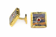 MICHELLE DELVILLE - MENS CUFFLINKS  Square Plume Agate with Tangerine Saphhire Stone Set in 22K Gold Plated