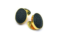 MICHELE DELVILLE- MENS CUFFLINKS - Black Shagreen in 22K Gold Plated Setting