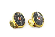 MICHELLE DELVILLE MENS CUFFLINKS Turtella Agate and Tangerine Sapphire in 22K Gold Plated Setting
