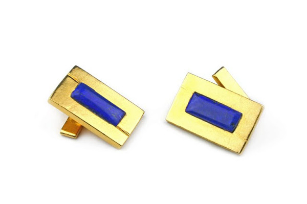 MICHELLE DELVILLE MENS CUFFLINKS  Art Deco 22K Gold Plated with Lapis