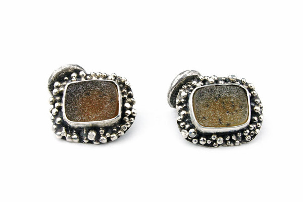 MICHELLE DELVILLE - MENS CUFFLINKS Champagne Druzy Set in Sterling Silver Granulated Bezel