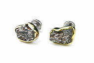 MICHELLE DELVILLE - CUFFLINKS Meteorite Set in 22K Gold & Pure Sterling Silver