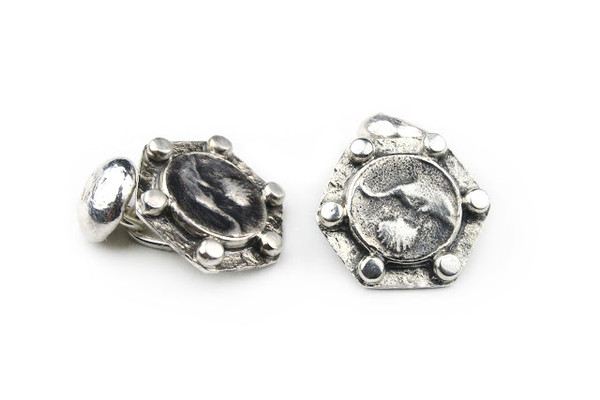 MICHELLE DELVILLE MENS CUFFLINKS Sterling Silver Solar Sign Pisces