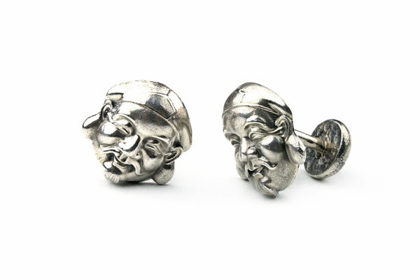 MICHELLE DELVILLE MENS CUFFLINKS Rough Pyrite set in Black Rodium Plated