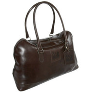 Red Scarf - Elite City Tote with Red Scarf Logo or your own Logo embossed hang tag in chocolate brown leather